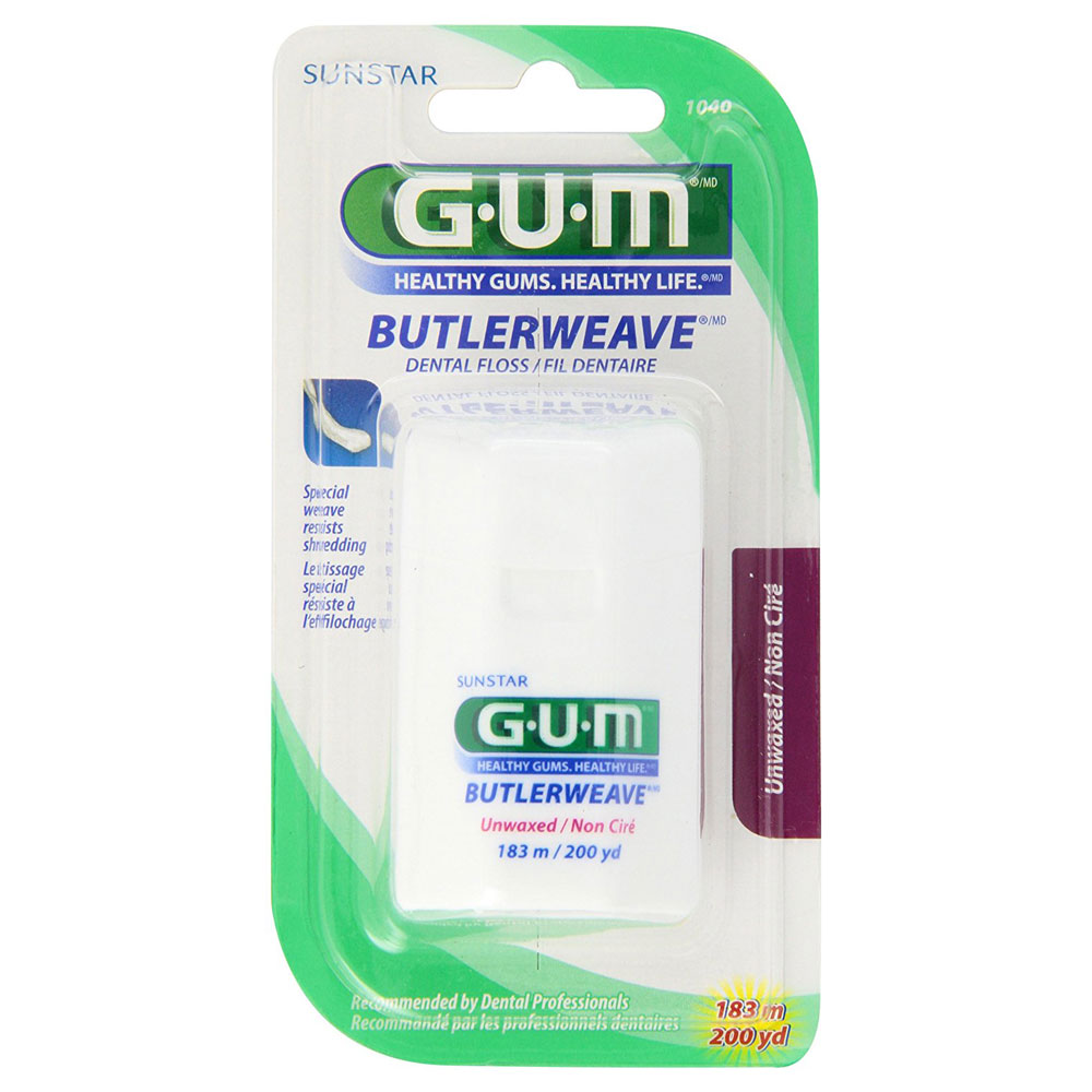 GUM-60-Yard-Unwaxed-Butler-Weave-Floss-(36-Pack-Value)